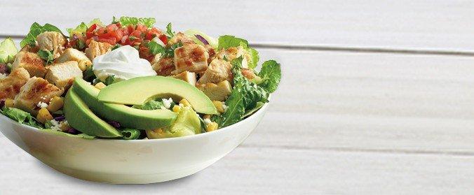 Double Chicken Avocado Salad low carb meal options el pollo loco